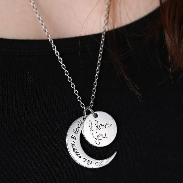 statement necklaces engraving pendants Hip Hop High Quality Cheap Jewelry I Love You Sun Moon Necklaces 925 Silver 24K Gold Chains Necklaces