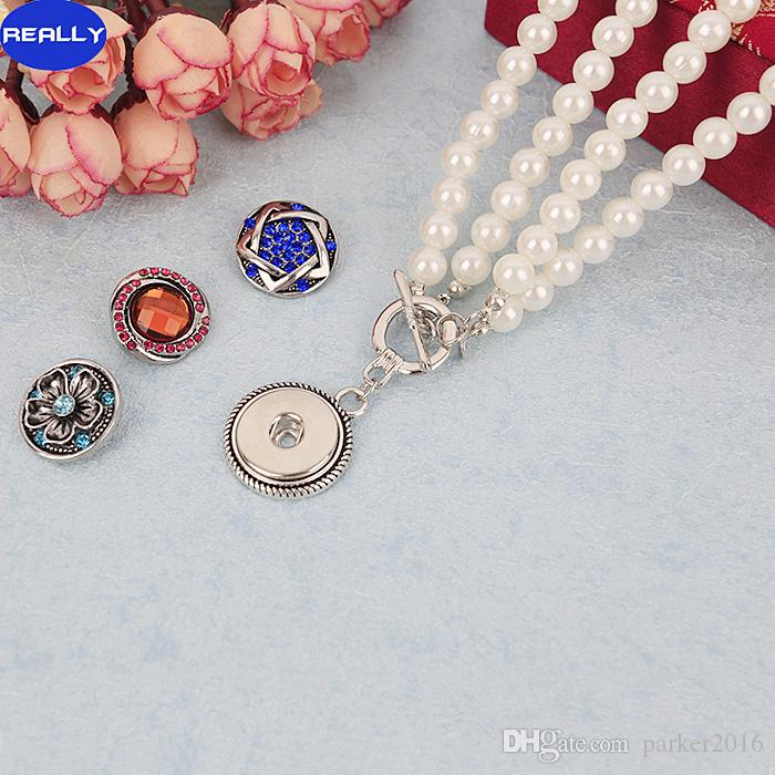 REALLY Wholesale NOOSA Snap White Imitation Pearl Jewelry With 18MM Tin Alloy Button Pendant Necklace