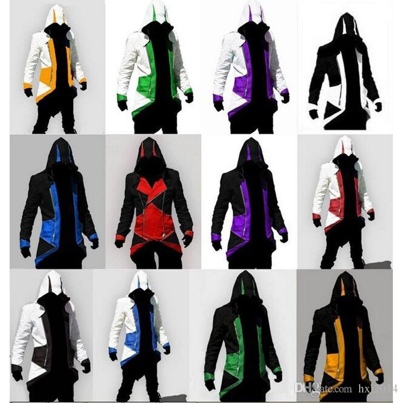 Hot Sale Custom handmade Fashion Assassins Creed 3 III Connor Kenway Hoodies/Costumes Jackets/Coat 12 colors choose direct from factory