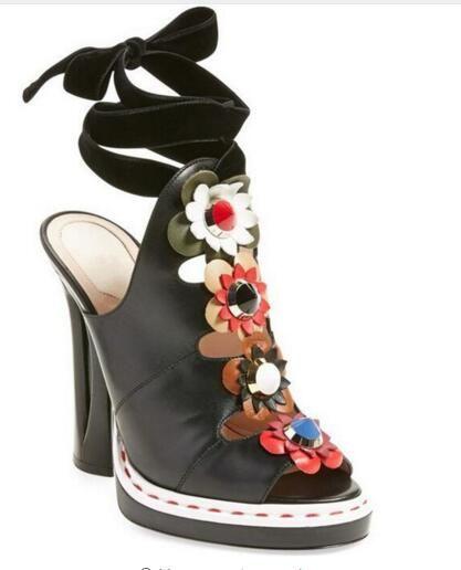 2016 Flowers folk etnico sandali degli alti talloni della piattaforma pista scarpe da donna Rivetti Gladiator Sandals delle donne pompe Sandali Mujer