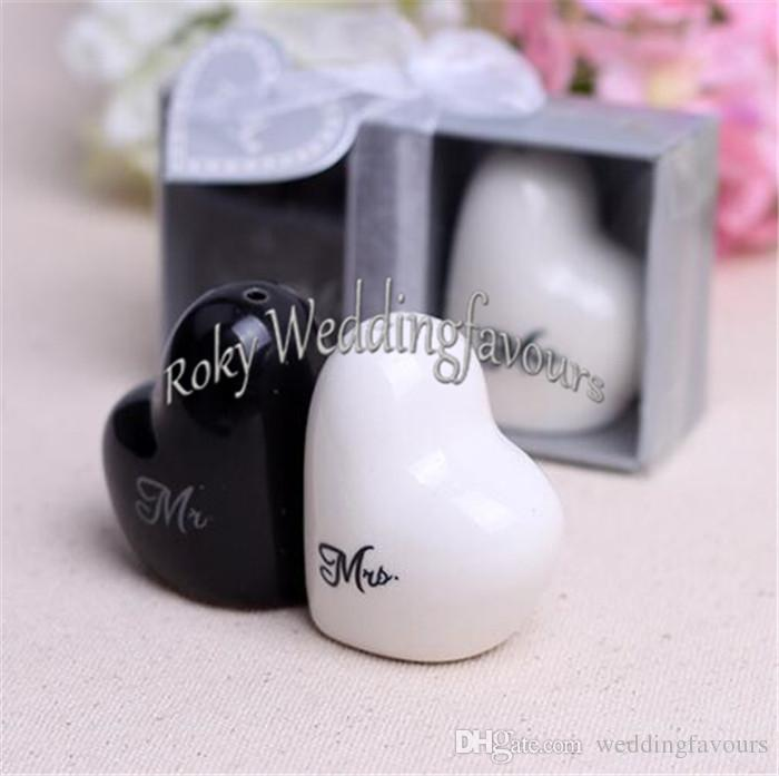 !=Bride and Groom Salt and Pepper Shaker Wedding Favours Engagement Party Giveaways Anniversary Keepsake Ideas