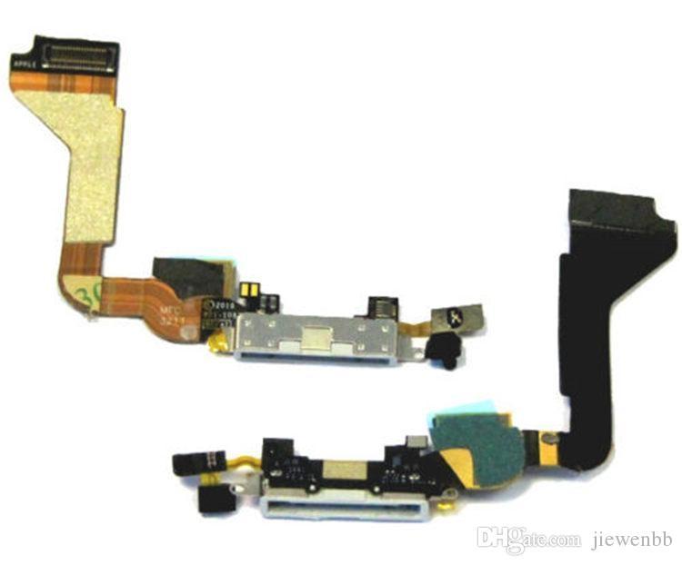 10 unids / lote Alta Calidad Nuevo Puerto de Carga Puerto de Carga Flex Cable Reemplazo para iPhone 4 4G Negro / Blanco piezas de reparación