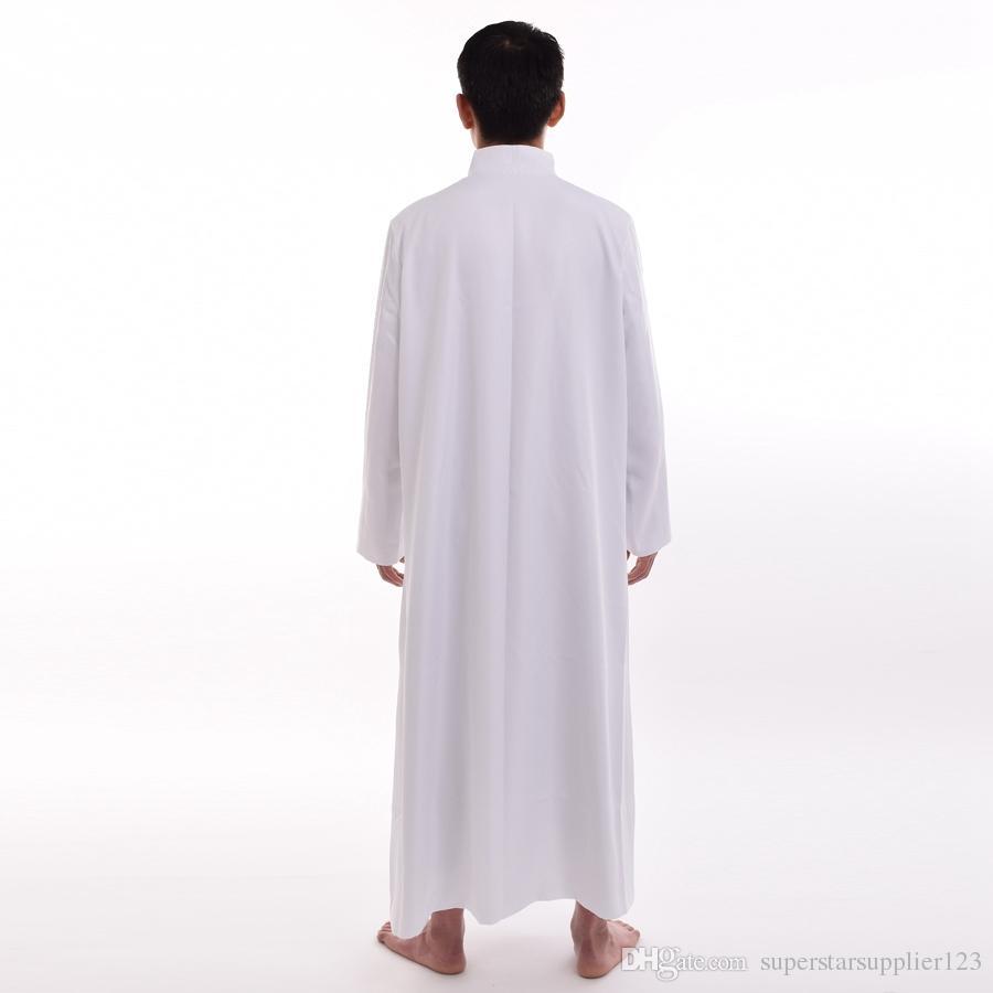 Button Romano Bianco / Nero Priest Tonaca Robe Gown Sacerdote Paramenti monopetto costumi adulti Uomini Cosplay