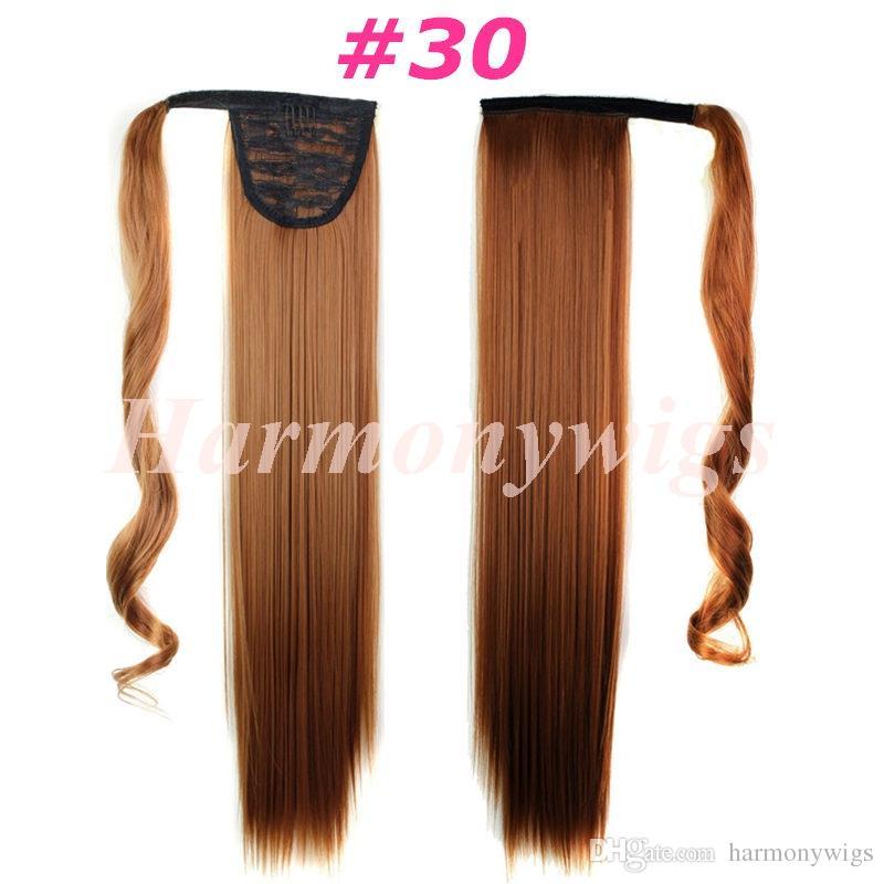 Ponçons synthétiques Clip dans les extensions de cheveux Pony queue 24inch 120g Synthétique Droit Cheveux Morceaux plus 13Couleurs facultatifs