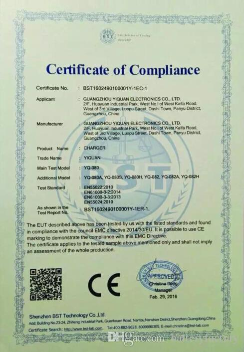 무료 DHL, CE ROHS 증명서 새로운 YIQUAN AC 다기능 배터리 충전기 까만 벽 충전기는 18350 16340 18650를 위해 적합하다