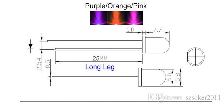 5mm rotondo acqua pulita LED lampada luminosa lampada a emissione diodo bianco rosso blu rosso verde giallo rosa viola orangefoggy ultra brillante plug-in plug-in kit fai da te Pratica grandangolare