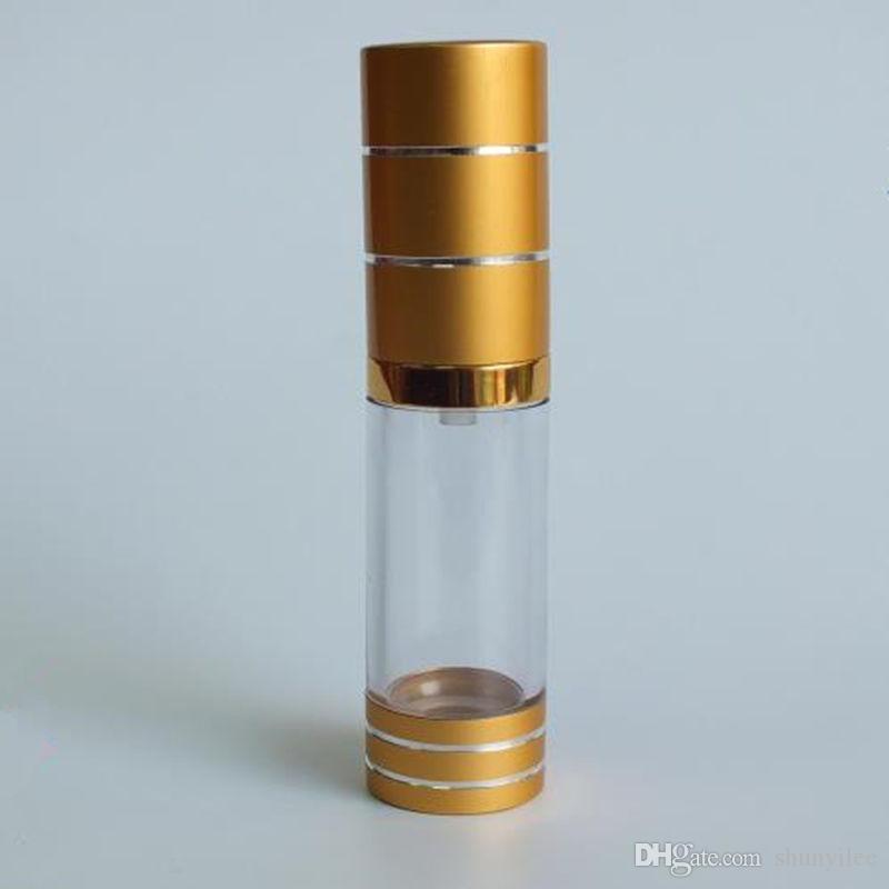 15/20 / 30ml bouteille airless de haute qualité bouteilles de pompe à vide en verre bouteille de lotion or utilisé pour le tube contenant des cosmétiques