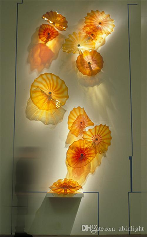 Art Decorative Glass Wall Plates Custom Made Color Size Blown Lamps for Room Decoration