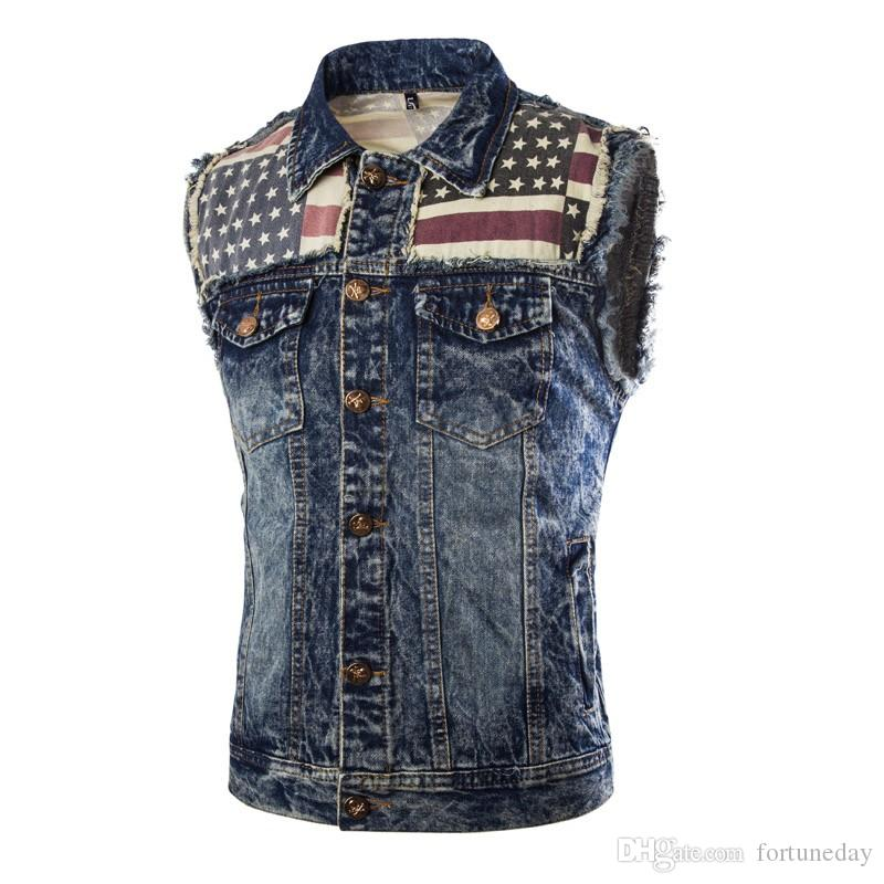 2017 2016 New Arrival Men'S Denim Vest Jeans Vest Men Cowboy Vest ...