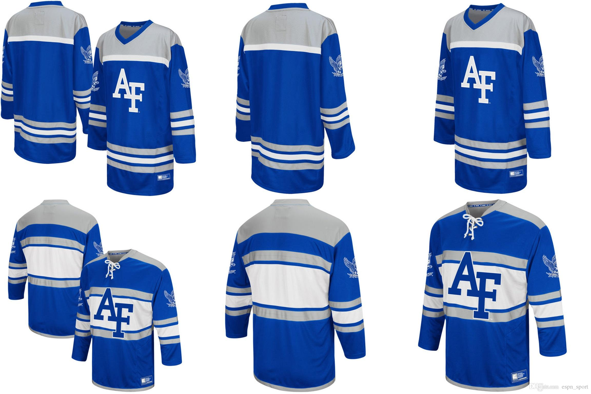 Customize Air Force Falcons Colosseum Blue Hockey Jersey Mens Womens Kids  Custom Any Name NO.Best Quality Ice Hockey Jerseys S 6XL UK 2019 From  Espn sport 4d7e03df4a7
