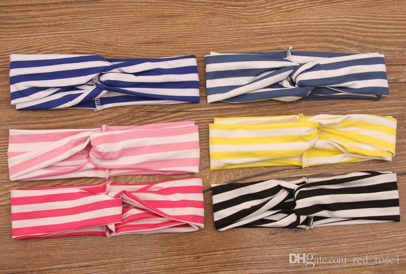 Bambini Baby Girls Strip Cotton Turban Twist Knot Capodanno annodato Band Capelli Fashion Baby Party Fandbands Accessori capelli di Natale