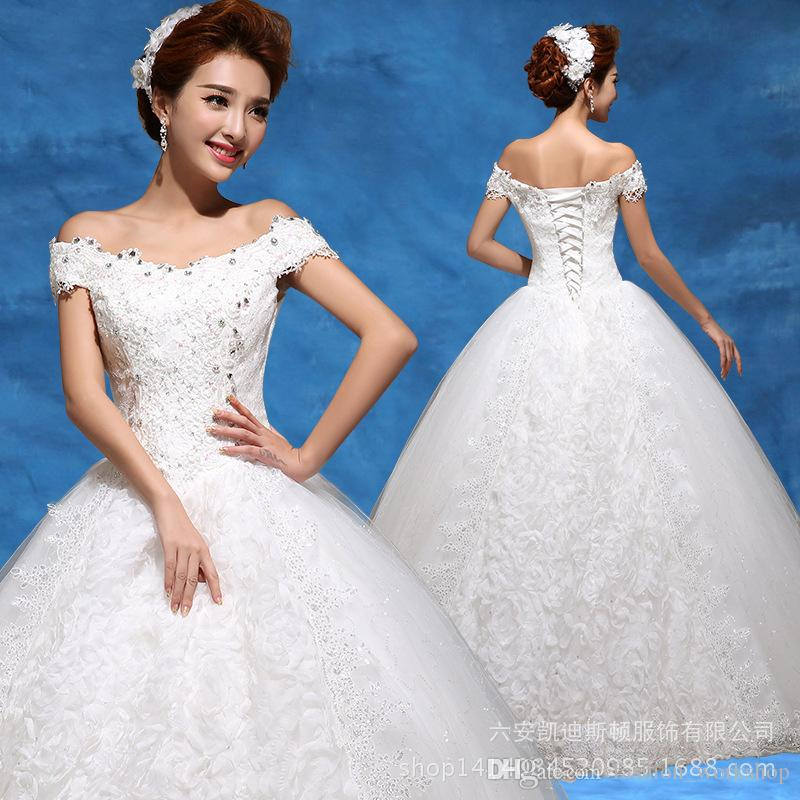 Lace 2016 Wedding Ball Gown Off Shoulder Plus Size Beading Crystal ...