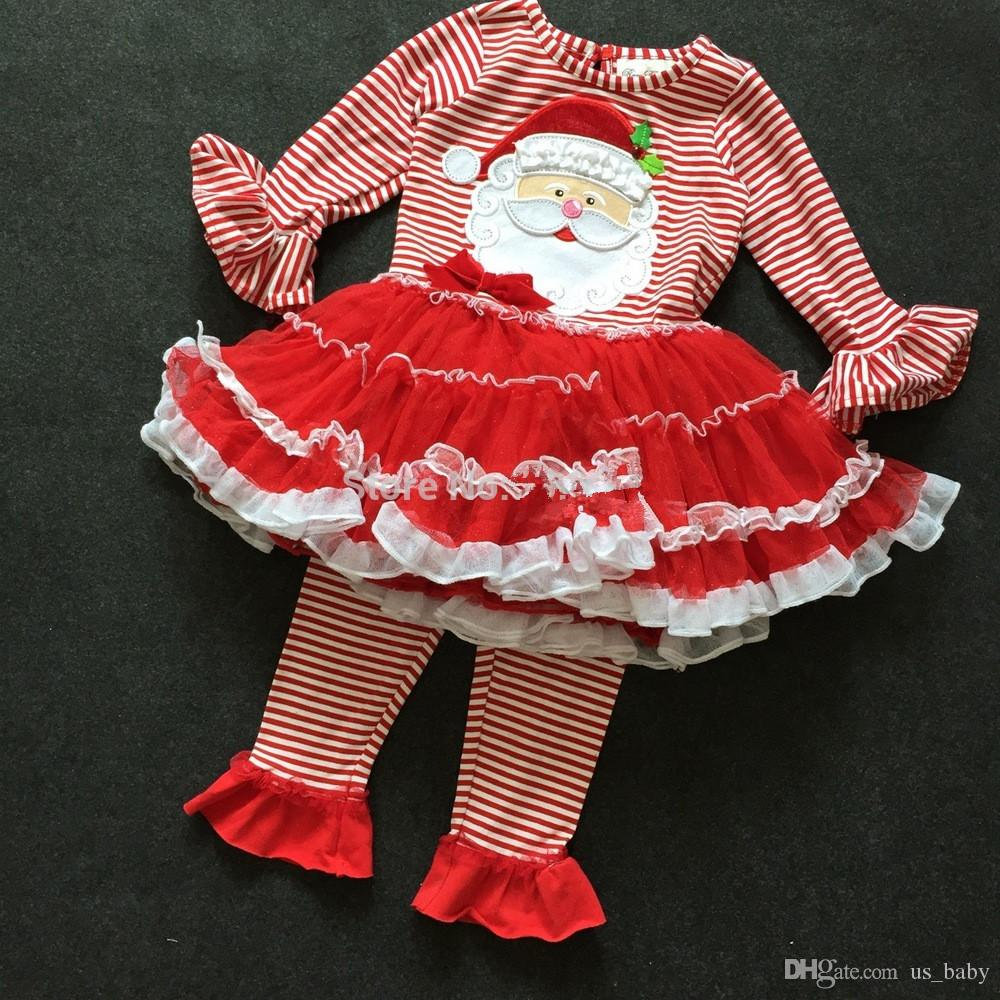 3f26592a5 2019 Baby Rare Editions Christmas Set Santa Claus Tutu Dress Red Legging  Holiday Outfit Long Sleeve Top +Long Pants For 3 24M Little Girl From  Us_baby, ...