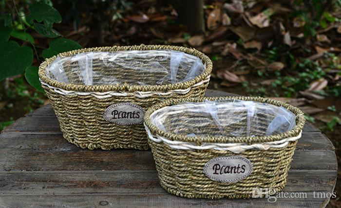 -PACK 2016 New Hot Handmade Straw basket rattan wicker basket wholesale floral hand-woven Container and more flower pots Wedding vases