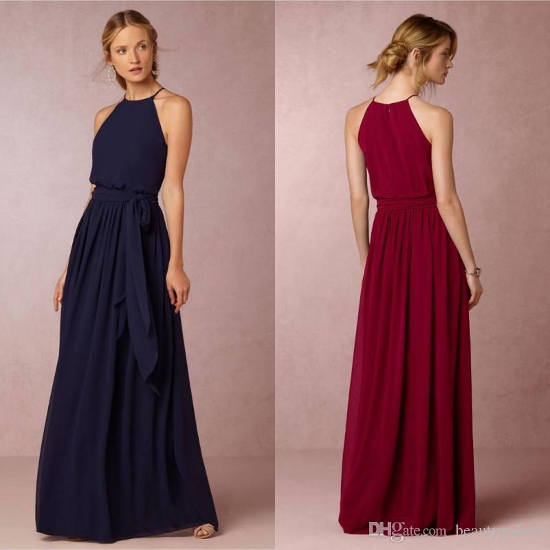 9164c613bdf22 Long Navy Blue Bridesmaid Dresses BHLDN Chiffon Summer Beach Wedding Party Dresses  Long Floor Length Cheap Bridesmaid Formal Dresses Bridesmaid Dresses ...
