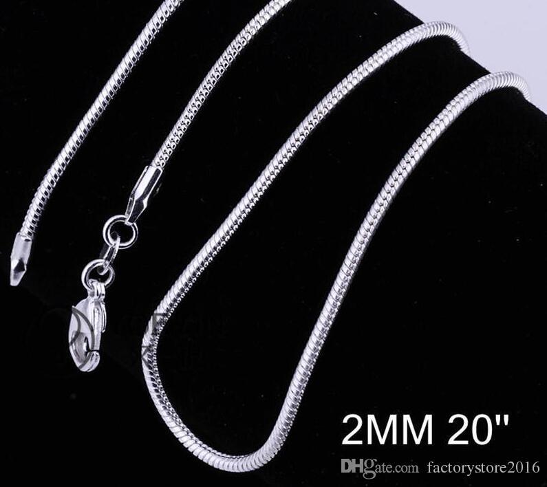 2mm 925 Ayar Gümüş Yılan Zincir Kolye 16 18 20 22 24 Inç Zincirler Tasarımcı Kolye Takı Toptan Fabrika Fiyat