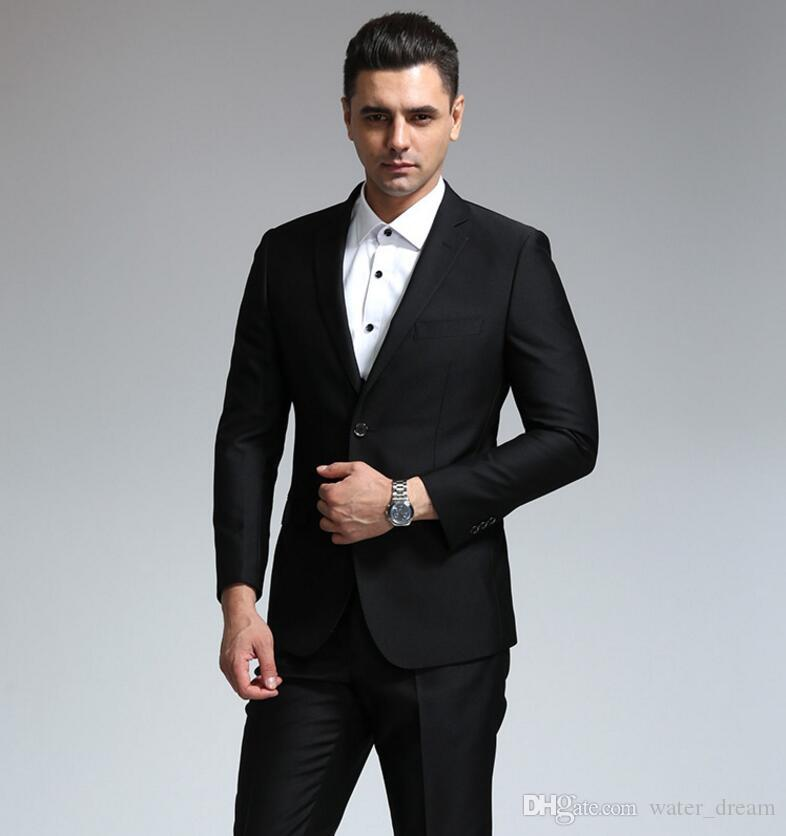 New styles of men's tailored suit elegant fashion high quality pure black two-piece fashionable man business suit jacket + pants
