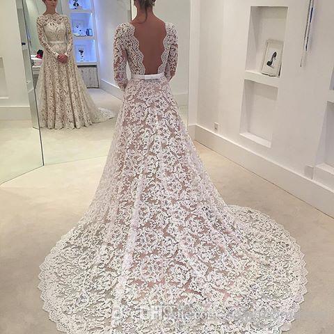 Robe De Soiree 2017 Full Lace Backless A line Abiti da sposa Collo a barchetta Corte dei treni Maniche lunghe Abiti da sposa Su misura