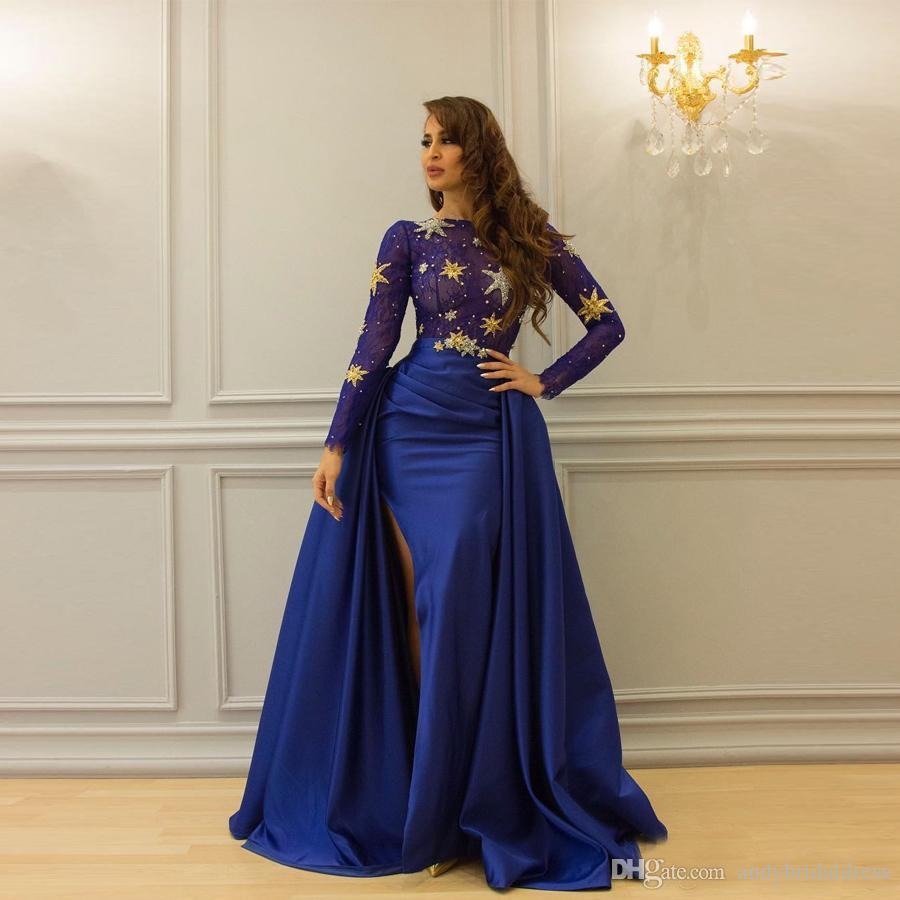 De luxe Royal Blue perlés Étoiles Bling Bling Satin Longueur De Plancher De Soirée Robe À Manches Longues Détachable Jupe Arabie Saoudite Femmes Robe