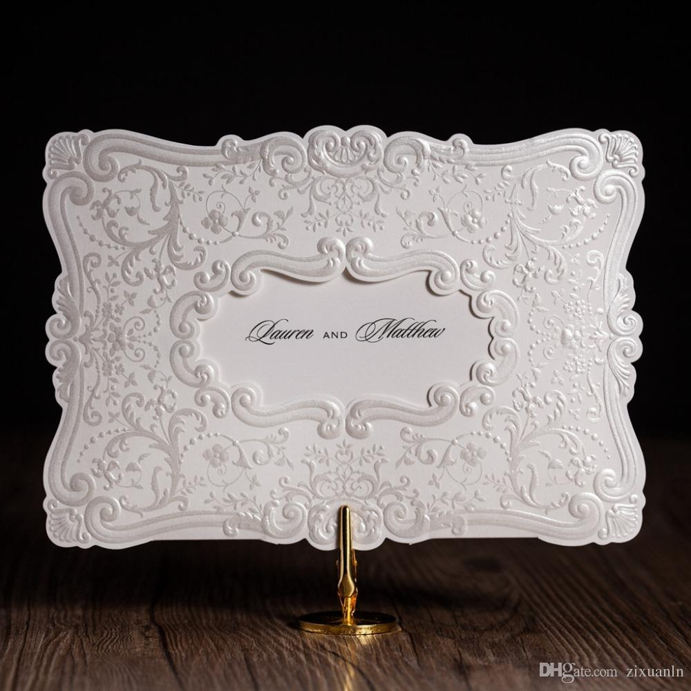 Classic White Shiny Embossed Flowers Wedding Invitations Cards, By ...