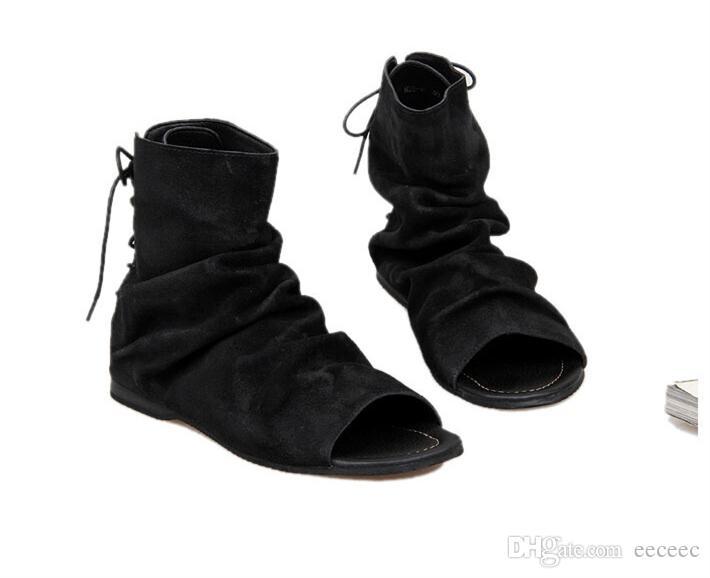 US Größe 6-10 Vintage Männer Echtes Leder Römischen Stil Gladiator Sandalen Lace Up Strand Sandalen Sommer Stiefel