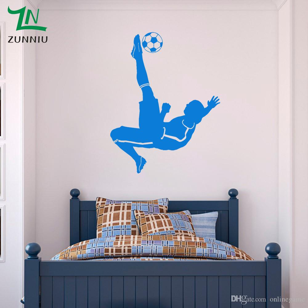 Large Football Footballer Wall Sticker for kids boys rooms Living room Bedroom decoration Mural wall Art Poster Decal 50*70 cm