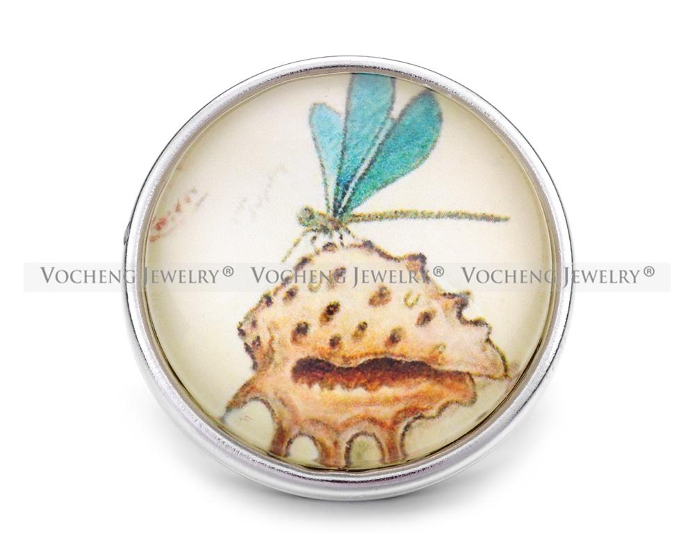 VOCHENG NOOSA Wholesale 18mm Interchangeable Dragonfly Button Glass Snap Charm Jewelry Vn-1155