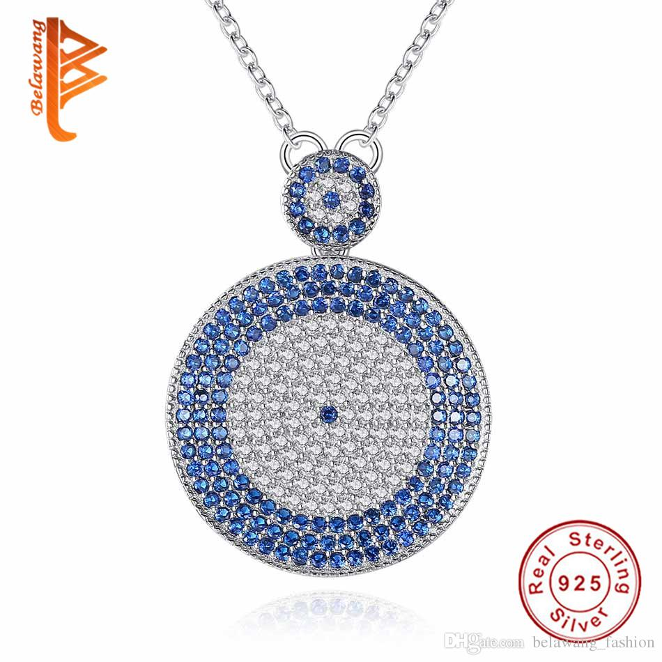 cbca60bb7595e3 Wholesale BELAWANG 925 Sterling Silver Evil Eye Pendant Necklace Blue&White  Clear Crystal CZ Solitaire Necklace New Fashion Jewelry Gift Jewellery Key  ...
