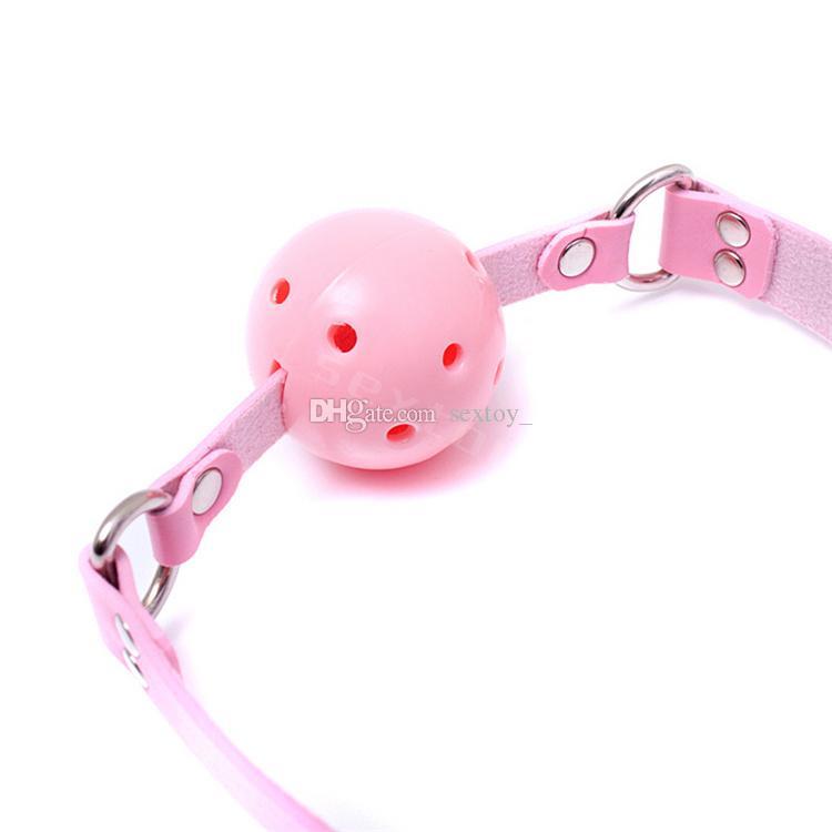 Pink Plastic Gag Pink Leather Adjustable Lockable Belt Pig Dog Slave Training Gear Bondage BDSM Kit Sex Toy