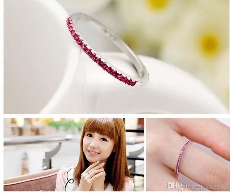 Argento all'ingrosso 925 anelli in argento sterling le donne viola rosso simulato diamante anello di fidanzamento stella gioielli