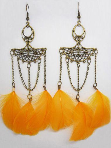 Feather Earrings wholesale Cute Elegant Bronze Chain Light Dangle Eardrop Army Green Orange Deep Pink Blue Burgundy JF256