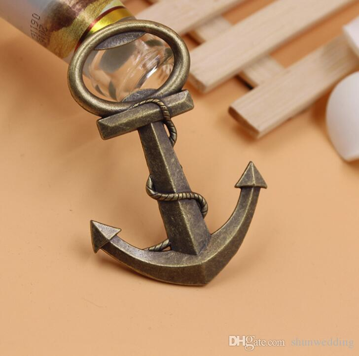 Unique Creative Aeneous Anchor Shaped Bottle Opener Beer Opener for Wedding Birthday party supplies with package box