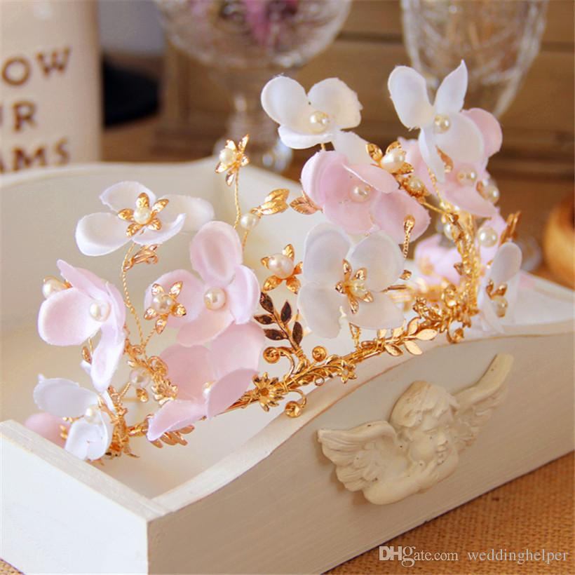 Wedding Bridal Princess Pink Flower Headpiece Hair Accessories Headband Crown Tiara Jewelry Gold Pearl Crystal Rhinestone Head Piece Jewelry