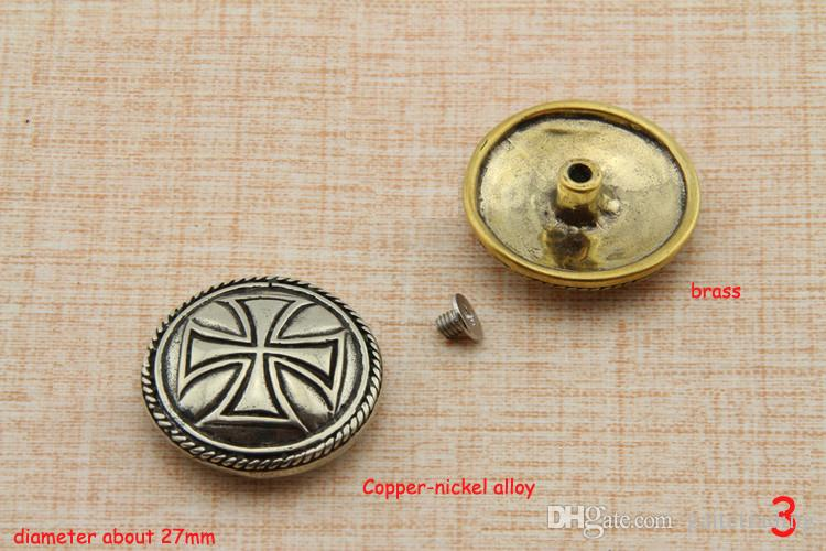 creative flower carved decorative buckle leather button DIY handmade leather wallet screw hardware part craft