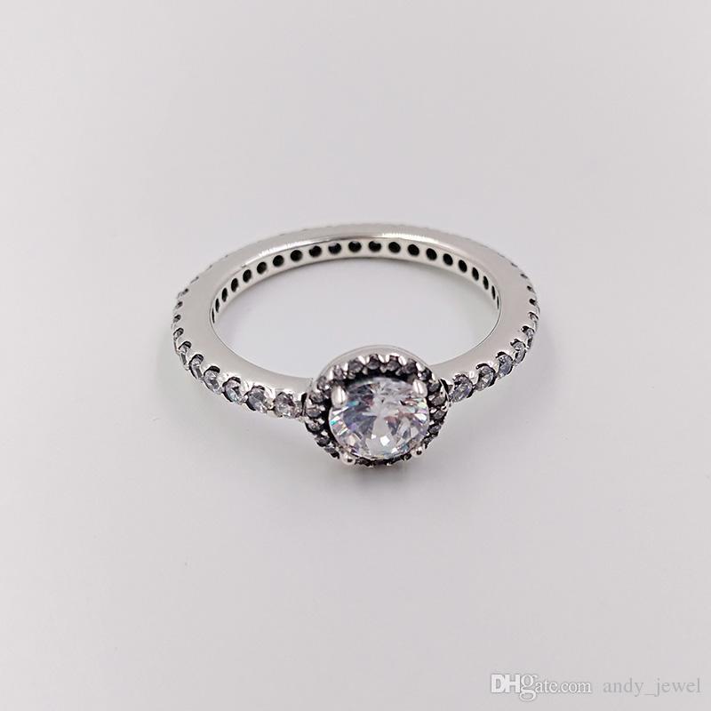 Аутентичные 925 Серебрянные кольца Классический Elegance, Clear Cz Подходит для европейского Pandora ювелирных изделий типа 190946CZ
