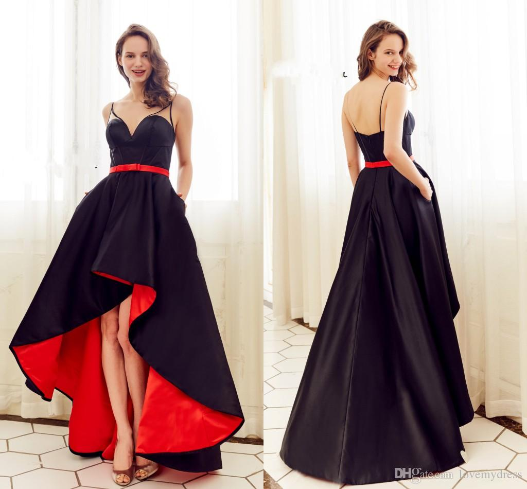 2018 Red Black High Low Prom Dresses With Sheer Straps Satin A Line ...