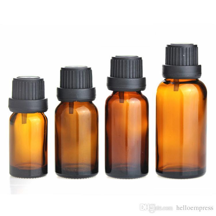 Оптовая янтарные стеклянные бутылки 10мл /Лот мини бутылки эфирного масла с капельницей наконечник черный Шпалоподбойки бесплатно жидкости для электронных сигарет DHL бесплатно