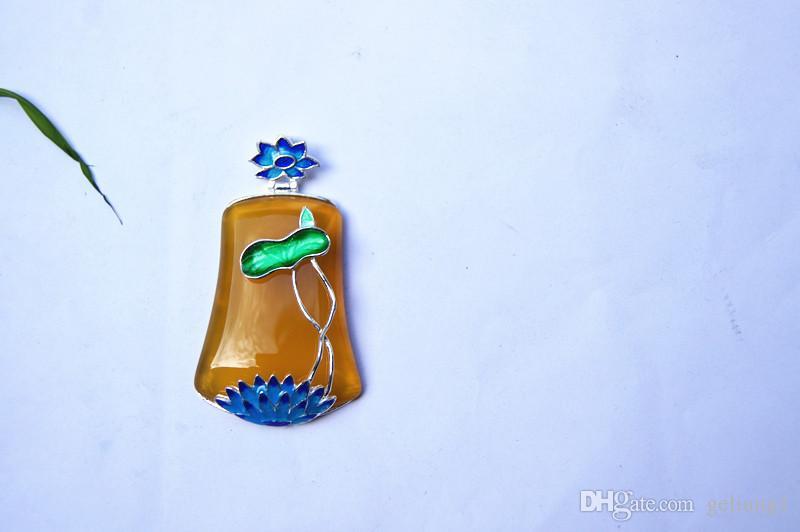 Lotusblatt Lotus Typ 925 Sterling Silber Inlays natürlicher Achat - Jade Pulp Handschnitzerei. Glücklicher Halskettenanhänger
