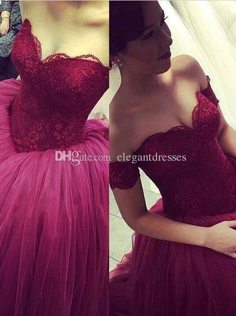 2021 PROD 드레스 포도 숄더 레이스 볼 가운 Quinceanera 드레스 Sweet 16 Dresses Vestido de Festa Long Tulle Formal Prom 가운