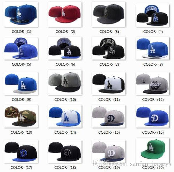 45b0918f873 Wholesale Los Angeles Fitted Caps LA Letter Embroidery Baseball Cap Flat  Brim Hat Dodger Team Size Baseball Caps Cheap Snapback Hats Hats Online  From ...