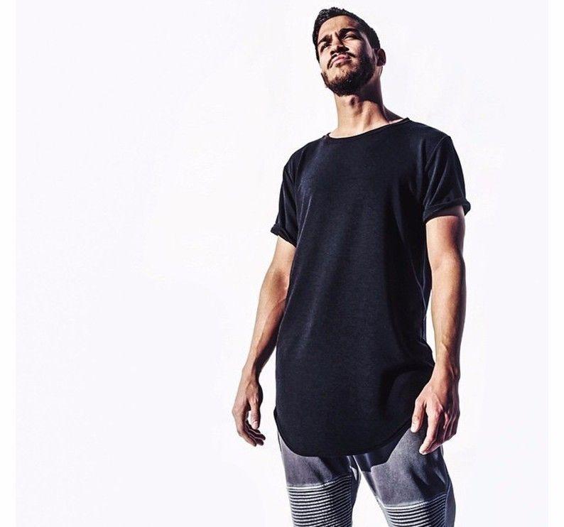 T-shirt da uomo Mens grande e alto abbigliamento abbigliamento designer citi tendenze vestiti t shirt homme curvo orlo tee semplice bianco esteso coreano1