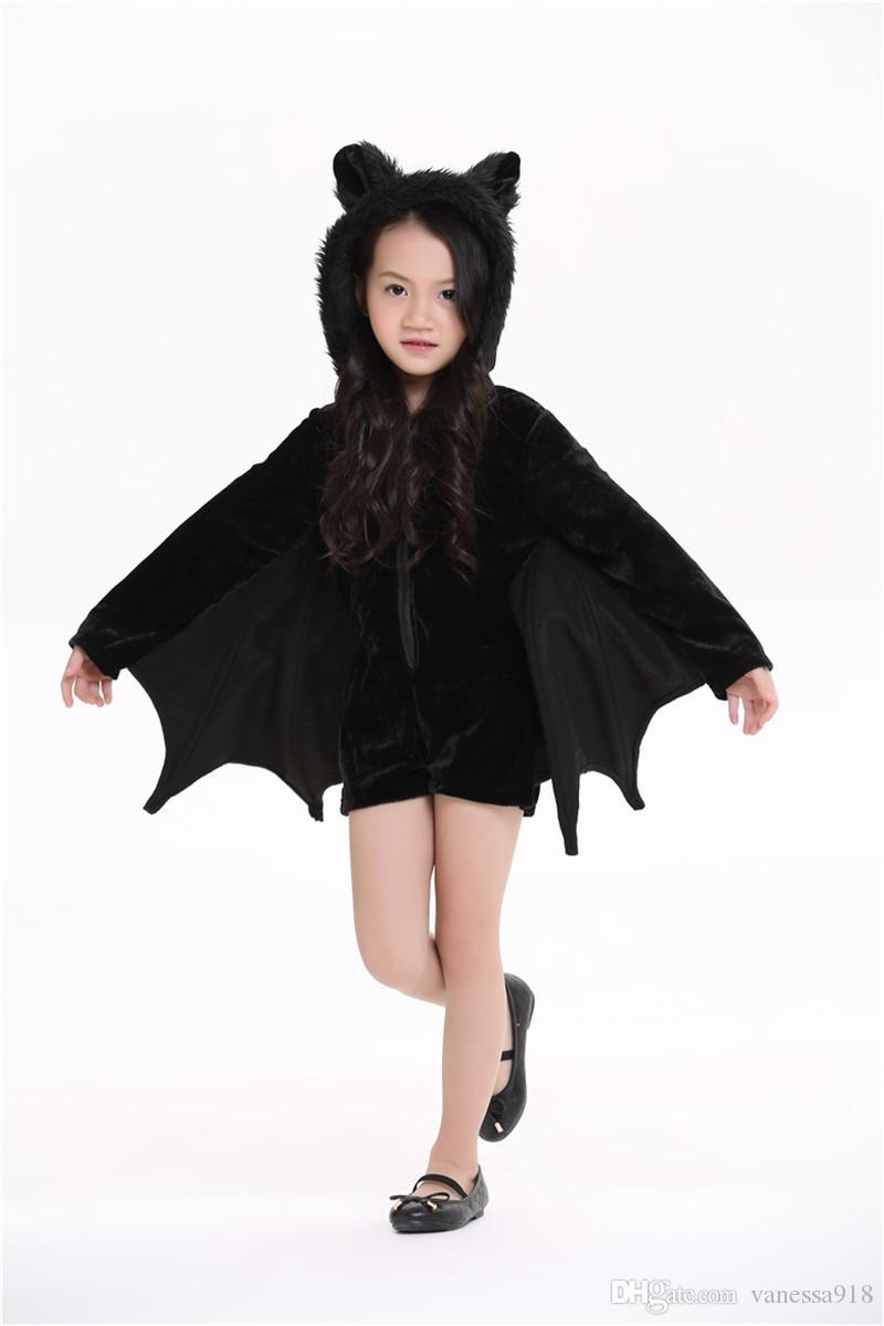 New family suit Animal Cosplay Cute Bat Costume Kids Halloween Costumes For Girls Black Zipper Jumpsuit Connect Wings Batman Clothes PS001