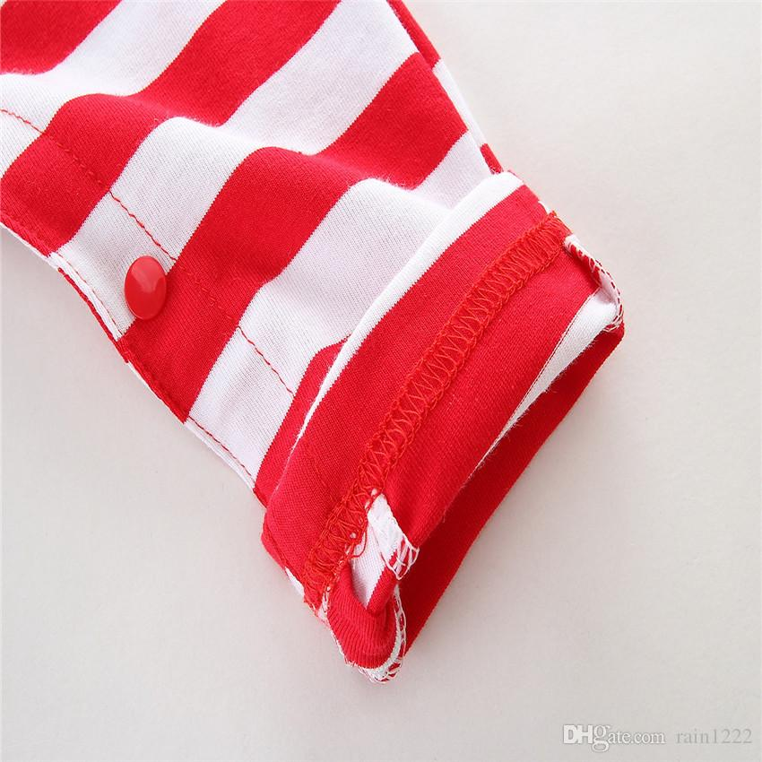 New Summer Baby Striped Onesies Rompers Babies Red Striped Sleeveless Jumpsuits Infants Toddlers Cotton Vest Overalls Rompers For 0-2T