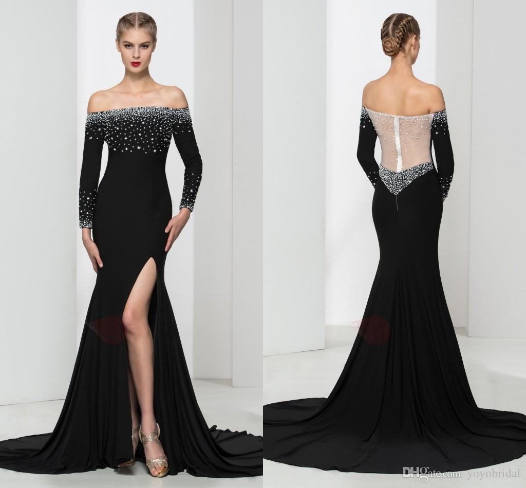 Stunning Black Evening Dresses 2017 With Splits Long Sleeves Off ...