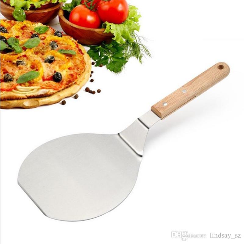 Noel malzemeleri Ahşap Saplı Paslanmaz Çelik Kek Kaldırma Pizza Sunucu Çerez Spatula Büyük Pizza Kürek hızlı kargo