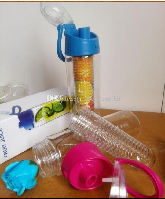 700ML Tritan Fruit Sport Water Bottle Infusing Infuser Bottles with Carrying Handle Many Color Option A013
