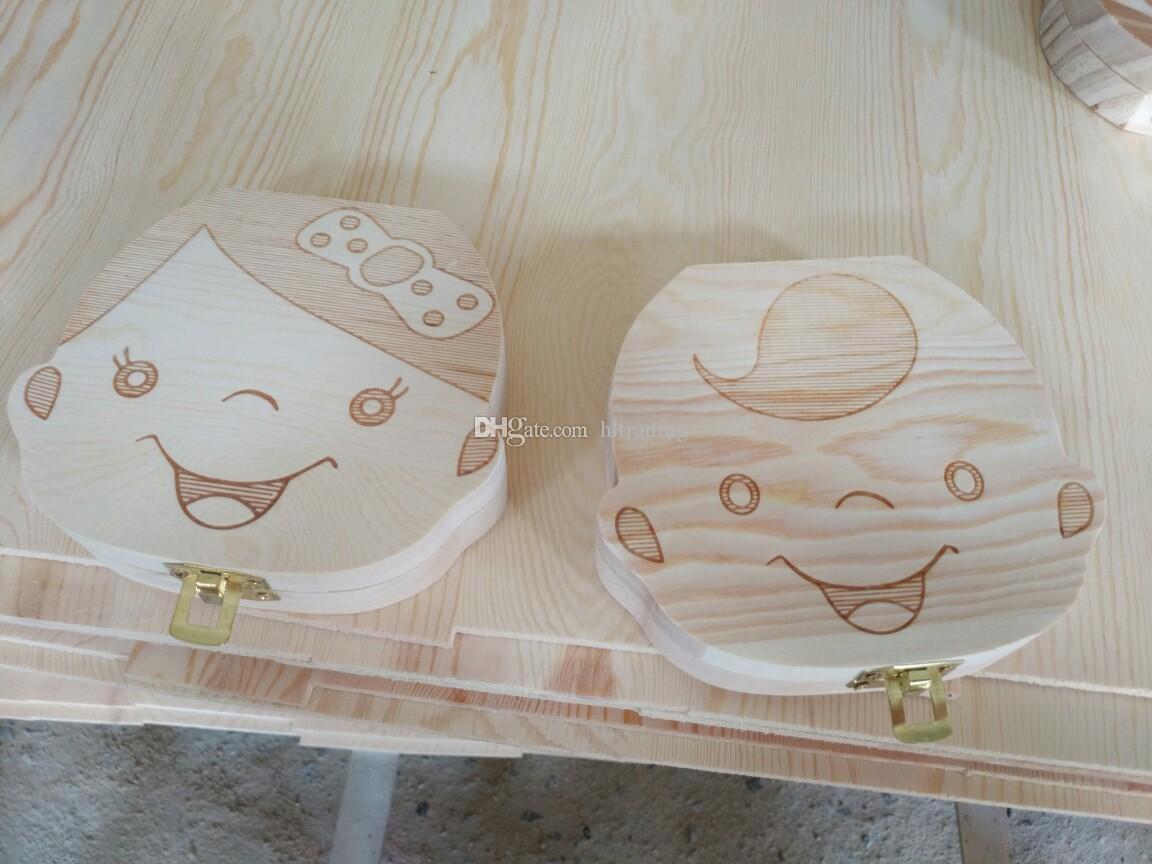 Hiszpański Angielski Pudełko zębów dla Dziecka Save Milk Zęby Chłopcy / Girls Image Wood Storage Boxes Creative Prezent Dla Kids Travel Kit 2 Styles C1892