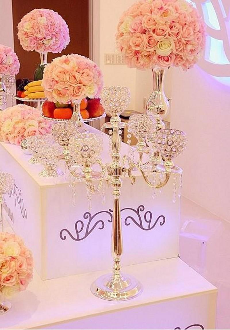 75cm Metal Gold Silver Candle Holders 5 Arms With Crystals Stand ...