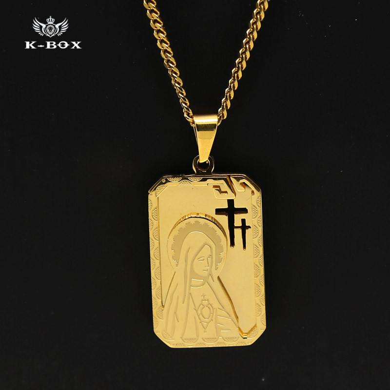 Wholesale stainless steel gold plated virgin mary dog tag cross wholesale stainless steel gold plated virgin mary dog tag cross pendant 24 cuban curb chain necklace hip hop miraculous medal k box lockets fashion audiocablefo