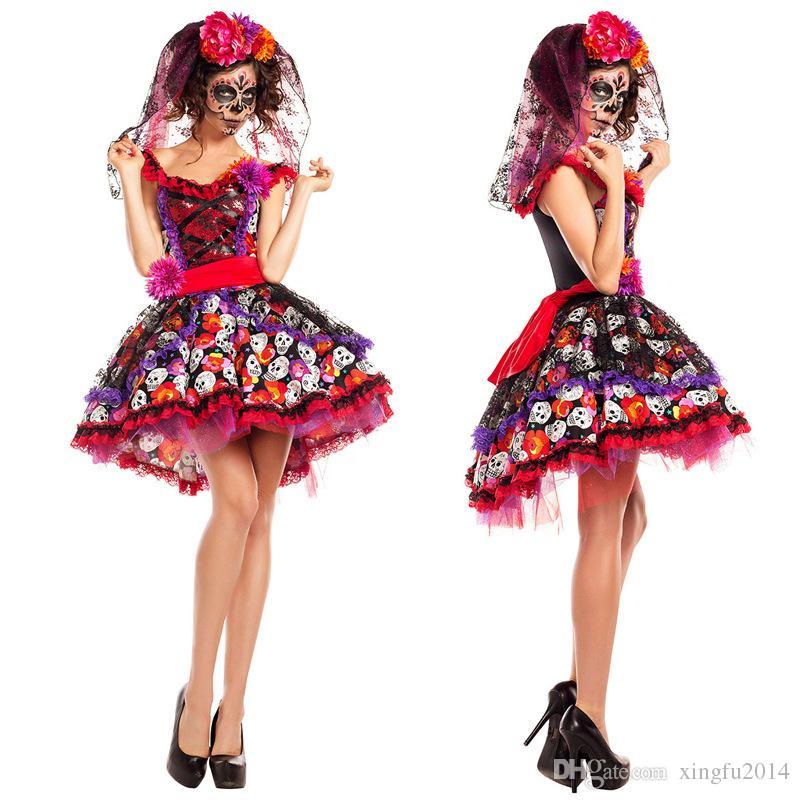 Fantasma trajes de novia para mujeres adultos cadáveres disfraces vestido de halloween para mujeres zombie cosplay ropa de pascua